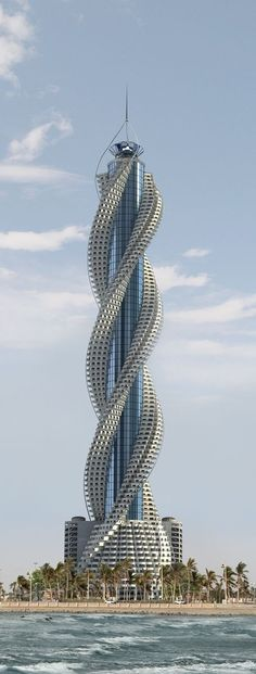 Check out this architecture! Diamond Tower, Jeddah, Saudi Arabia designed by Buruoj Engineering Consultant :: 93 floors, height Architecture Unusual Buildings, Interesting Buildings, Amazing Buildings, Modern Buildings, Famous Buildings, Steel Buildings, Modern Houses, Architecture Unique, Futuristic Architecture