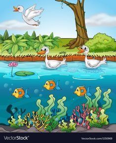 Swans and fishes Royalty Free Vector Image - VectorStock , Cartoon Trees, Cartoon Wall, Cartoon Drawings, Fairy Wallpaper, Flower Phone Wallpaper, Art Drawings For Kids, Drawing For Kids, Picture Borders, Teacher Classroom Decorations