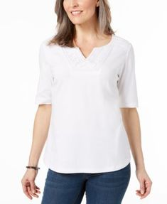 aaae04bde2 Karen Scott Cotton Tonal-Trim Top, Created for Macy's & Reviews - Tops -  Women - Macy's