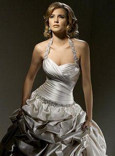Silver taffeta wedding dress spaghetti straps and ruffled skirt