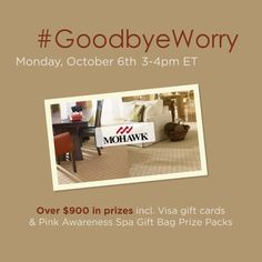 Ready to say #GoodbyeWorry and hello to softness and stain-resistance that never washes away? #TwitterParty on Mon 10-06 at 3pm ET! Over $900 in #prizes to be given away, including Pink Awareness Spa Gift Bags! #shop