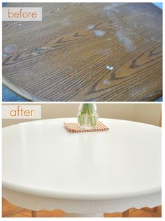 Tutorial for painting a kitchen table including prep and sealing top coat. Great tips from Centsational Girl