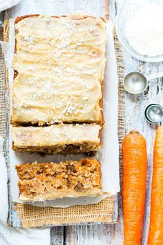 """Super Moist Vegan Carrot Cake Loaf is topped with a vegan """"cream cheese"""" frosting for the perfect Easter or Spring breakfast, snack or dessert. This vegan carrot cake bread is also gluten free, grain free, egg free, dairy free and refined sugar-free!"""