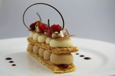Mille feuille with hazelnut puff pastry, baileys crème delice, caramel chocolate, Chantilly, raspberry jelly, ver juice jelly and Tanzanie chocolate  Served with SerendipiTEA: Raspberry Rumba - Raspberry & Black Tea @Kat Ellis Wheeler (Savour Fare) School