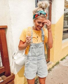 Sunny yellow tee and shorts overalls
