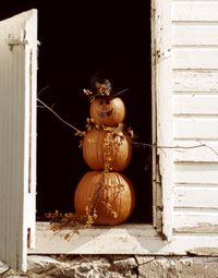 I love the idea of a snowman made out of pumpkins! Could go for Halloween or general fall decorations!