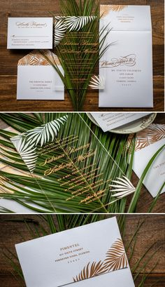 Palm Paradise Acrylic Wedding Invitation Suite A crystal clear acrylic invitation designed with pretty palm leaves in a rose gold and white color scheme. These are perfect for a summer affair or tropical destination wedding! Vegas Wedding Invitations, Acrylic Wedding Invitations, Beach Wedding Invitations, Wedding Invitation Wording, Wedding Stationery, Event Invitations, Wedding Envelopes, Invitation Envelopes, Invitation Ideas