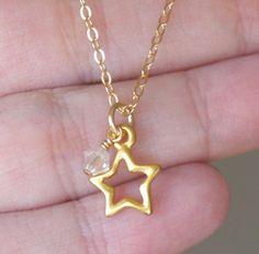 Gold Star Necklace, Custom Star Necklace, Gold Star Necklace, Tiny Star Necklace, Birthstone Necklace, April Birthstone, Dainty Everyday