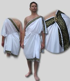 Greek Chiton with Trim - Ancient Greek Costume with Trim and Pin and Rope Belt Greek Fashion, Roman Fashion, Ancient Greece Clothing, Ancient Greece Fashion, Greek Chiton, Ancient Greek Costumes, Roman Clothes, Greece Outfit, Toga Party
