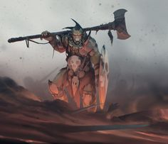 And learn how to let go - in a sense of cropping away half of the painting to achieve better composition. So, here's an orc on the battlefield Fantasy Warrior, Fantasy Races, Fantasy Rpg, Character Creation, Character Concept, Character Art, Concept Art, Fantasy Inspiration, Character Design Inspiration