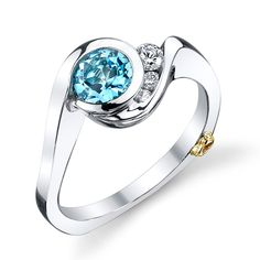 "Brides.com: Engagement Rings with Colored Stones. Style 31-V550HVA, ""Escape"" platinum ring with a round aqua and .12ctw diamonds, $3,558, Mark Schneider Design                                                                                                               See more Mark Schneider Designs engagement rings."