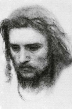 """Набросок к """"Христу в пустыне"""", 1872 г. © И. Н. Крамской. #Kramskoi #Jesus #Christ"""