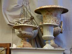 vintage iron urns