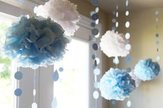 sky decor - teal puffs instead of blue (maybe use loofas as a shortcut and then give as part of 'shower' favors)