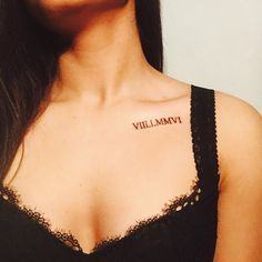 Image result for roman numerals collar bone tattoo