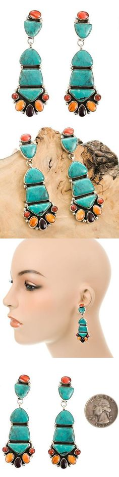 Native American pre-1935 165137: Navajo Earrings Turquoise Totems Sterling Silver Native American Vandc Hale -> BUY IT NOW ONLY: $383.2 on eBay!
