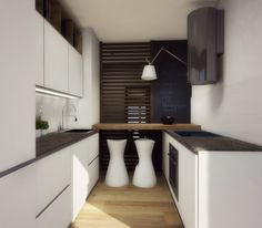 Una cucina piccola può essere attrezzata di tutto punto ed essere anche bella da vedere. Ecco un progetto d'arredo in 3D per una composizione ad angolo di meno di di 2 x 3 metri.