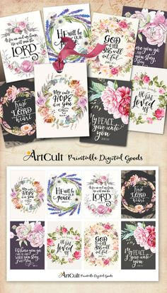 Printable download BIBLE VERSES TAGS No.12 Scripture Art eight