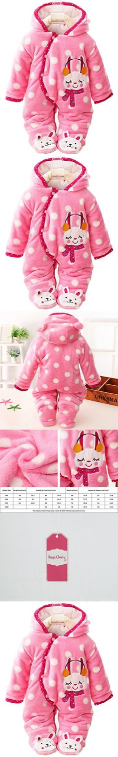 Baby Toddler Winter Oblique Button Open Footies Romper Hoodies Jacket Outfit- Little Rabbit for 6-9M