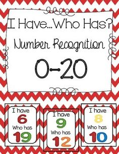 I Have Who Has Number Recognition for numbers 0-20! FREEBIE!!!  at TpT