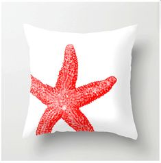 Coral and White Starfish Pillow - beach decor home decor nautical themed pillows Pantone color Cayenne - coral accent cushions coastal decor on Etsy, $35.00