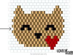 "Miyuki heart cat diagram ""I am so bored! Beaded Earrings Patterns, Beading Patterns Free, Seed Bead Patterns, Peyote Patterns, Loom Patterns, Art Patterns, Seed Bead Projects, Diy Jewelry Projects, Loom Bands"