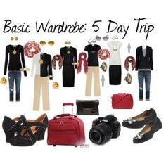 My Capsule Wardrobe Basics ~ 5 Day Trip Travel Capsule, Travel Wear, Work Travel, Travel Style, Wardrobe Basics, Capsule Wardrobe, Capsule Clothing, Wardrobe Sets, Core Wardrobe