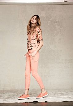Salmon pink head-to-toe