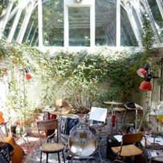 A home music studio in a greenhouse. Very inviting and creative space. - A Interior Design House Music, Home Studio Musik, Underground Greenhouse, Living Haus, Living Rooms, Deco Studio, Boho Home, Recording Studio, My Dream Home