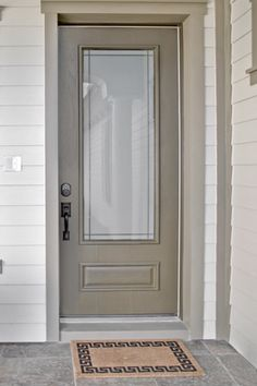 Therma-Tru Smooth-Star fiberglass door painted Tricorn Black with ...