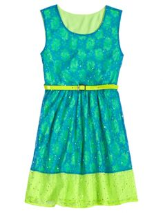 Real cute, lime green and turquoise blue, dress with a belt. Dress and image found at justice girls clothing store.   www.shopjustice.com