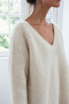 Women's knitwear v neck jumper ethical sustainable hand made clothing eco-friendly mohair wool ribbed trims light smooth warm casual style white cream Fashion Mode, Slow Fashion, Womens Fashion, White Jumper, White Sweaters, Mohair Sweater, Couture, Knit Fashion, Mode Style