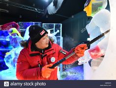 Download this stock image: Elstal, Germany. 23rd Nov, 2016. The Malaysian sculptor John Yong Chong Ming works on his ice sculpture in Elstal, Germany, 23 November 2016. The 2. Berliner Eiszeit (lit. Second Berlin ice age) will open on the 3 December 2016 in Karl's leisure farm. 22 artists from 12 countries will design more than 80 figures matching the theme Heroes of childhood. Photo: Bernd Settnik/dpa-Zentralbild/ZB/dpa/Alamy Live News - H9REKR from Alamy's librar...