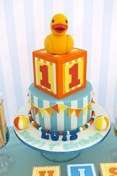 Pretty Mommy P contacted us a few weeks back asking if we could do a baby toys themed cake for her little man's birthday party. Boys 1st Birthday Party Ideas, 1st Birthday Cakes, Fancy Cakes, Cute Cakes, 1st Year Cake, Duck Cake, Cake Pictures, Gorgeous Cakes, Love Cake