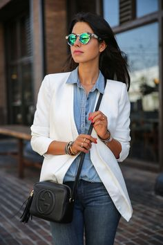 VIVALUXURY - FASHION BLOG BY ANNABELLE FLEUR: DENIM DAYS - #FALLFORJBRAND J Brand Photo Ready mid-rise skinny jeans | Cameo blazer { also here } | Gucci Soho leather disco bag | J Crew boy shirt in beaded chambray | Vita Fede jewelry: mini titan crystal bracelet, original titan bracelet, ultra eclipse crystal midi ring, ultra mini titan crystal ring & Capri 5 wrap bracelet | Illesteva Leonard sunglasses | Sophia Webster Riko cut-out patent leather & suede sandals September 15, 2013