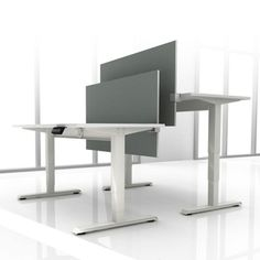 Set Of Two 72 W Height Adjule Desks With Privacy Screens