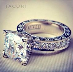 Jewelry Diamond : Custom Tacori Engagement Ring (Style No. HT - Buy Me Diamond Tacori Rings, Tacori Engagement Rings, Diamond Wedding Rings, Diamond Rings, Diamond Jewelry, Thick Band Engagement Ring, Black Diamond, Tiffany Engagement, Solitaire Rings