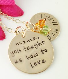 Hand Stamped Mommy Necklace, Personalized Jewelry, Mother Necklace, 14kt Gold Filled, Mother of Bride Jewelry