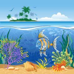 Beautiful Underwater World vector 03 - Vector Scenery free download