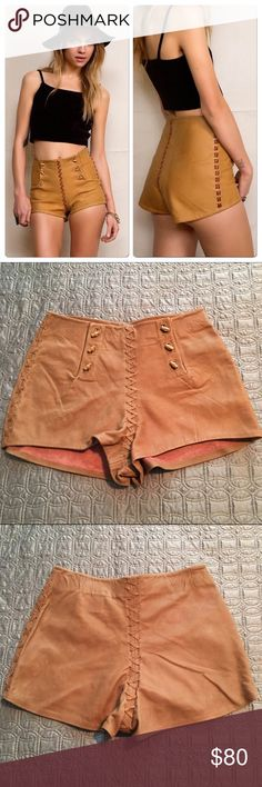 """NWOT Urban Renewal Whipstitch Leather Shorts ***Final sale - price firm! Last week available! Amazing hand made genuine leather shorts from Urban Renewal! Each Urban Renewal item is made from vintage & surplus materials creating a one of a kind piece! Whipstitch seams & toggle hip closures. Super soft on the inside. Some color variations in a few spots on back (see 3rd pic) only adds to the unique vintage aspect of these! Approx. measurements: 29"""" waist, 39"""" hips, 1.75"""" inseam. No tags but…"""