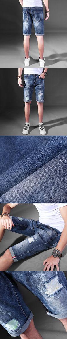 2017 Mens Jeans Summer Short Pants Men's Casual Skinny Jean Hip Hop Ripped Zippers Trousers Korean Men Track Streetwear