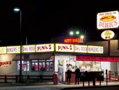 Chow down on one of LA's landmark dishes – a signature hot dog from the original Pinks stand in Hollywood. Long Beach California, California Vacation, Los Angeles Hollywood, San Gabriel Valley, Eating Places, I Love La, Cheap Things To Do, Vintage Restaurant, San Fernando Valley