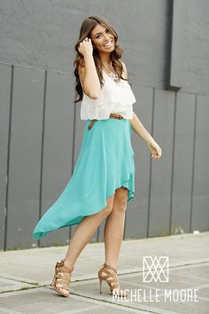 Spring Senior Style Ideas for the Class of 2014!    Bright colored hi-low skirt, tank or blouse tucked in with belt and spring heels.  Morgen / Class of 2012 / Photo, Michelle Moore