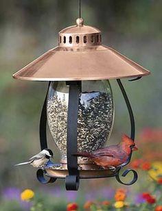 Lantern feeder with a copper lid.