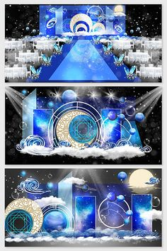 Blue starry wedding effect picture Starry Wedding, Wedding Stage Design, Space Party, Throw A Party, Sign Design, Backdrops, Dream Wedding, Wedding Decorations, Alice