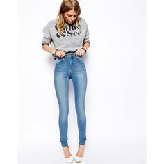 Shop ASOS Ridley High Waist Ultra Skinny Jeans in Brookyln Light Wash Blue. With a variety of delivery, payment and return options available, shopping with ASOS is easy and secure. Shop with ASOS today. Jeans Skinny, Mom Jeans, Brooklyn, Asos Petite, Mode Online, Chiffon Skirt, I Love Fashion, Women's Fashion, Super Skinny