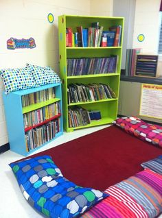 Love the painted these bookshelves - green/blue classroom decor! I can use pillowcases to make pillows for my reading area.