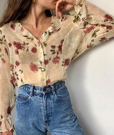 Vintage silk floral ruffle sheer blouse.