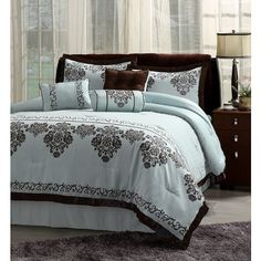 Comforter Set 7 Piece Blue with Chocolate Brown Trim Ensemble Includes a Comforter Bed Skirt Two Pillow Shams Neck Roll Oblong Pillow and a Square Pillow King Queen