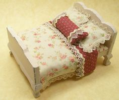 Dollhouse Miniature Dressed Bed Half Inch Scale by dalesdreams, $60.00